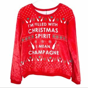 AWAKE red Christmas Champagne fuzzy sweatshirt L